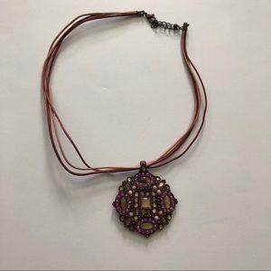 Beaded pink & bronze pendant necklace